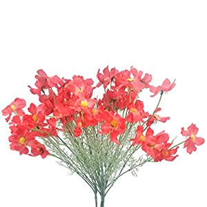 "cn-Knight Artificial Flower 6pcs 27"" Long Stem Silk Coreopsis Calliopsis Galsang Fake Daisy Chrysanthemum for Wedding Bridal Bouquet Bridesmaid Groomsman Home Décor Office Centerpieces(Red)"