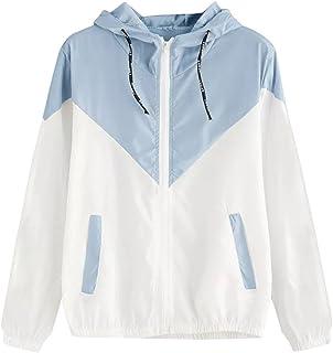 iQKA Women Active Jacket Zip Up Hoody Long Sleeve Patchwork Pocket Sport Running Coat
