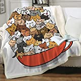 Sleepwish Cat Blankets and Throws Sherpa Throw Blanket Super Soft Reversible Ultra Luxurious Plush Blanket Pet Fleece Bed Sofa Blanket Funny Cat Gifts for Her Him Girls Women,Brown (50' X 60')