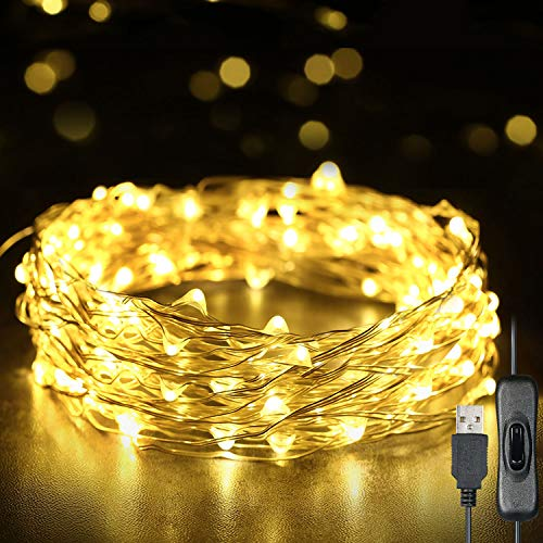 Decdeal Fairy Lights, 12m/39ft 120 LEDs String Lights USB Plug In Powered IP65 Waterproof Warm White for Xmas,Wedding,Indoor/Outdoor-Silver Wire