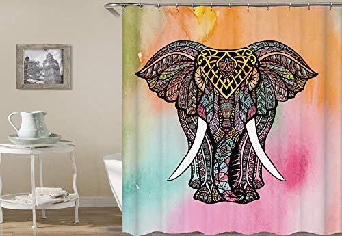 chuanglanja douchegordijnen Badkamer Waterdicht 3d digitaal afdrukken olifant patroon polyester douchegordijn 12 haken 180 * 180cm