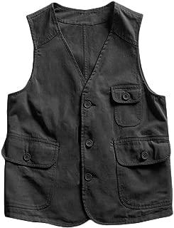 Makkrom Mens Casual Safari Travel Vest Button Down...