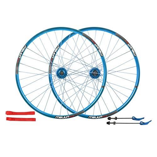 26 Pulgadas Juego Ruedas Bicicletas, Ciclismo montaña Ruedas Discos Freno Rueda Bici Conjunto liberación rápida Palin Teniendo 7/8/9/10 Velocidad Deportes (Color : Blue, Size : 26INCH)