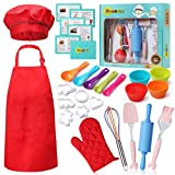 RISEBRITE Real Kids Baking Set 35 Pcs Includes Kids Apron, Chef Hat, Oven Mitt, Real Baking Tools and Recipes