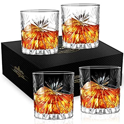 Whiskey Glass, Zpose Whiskey Glasses, Whiskey Glasses for Men, Scotch Glasses, Crystal Whiskey Glasses, Old Fashioned Glass, Scotch Glasses Personalized, Bourbon Glasses, Rocks Glasses Set 4, 9oz
