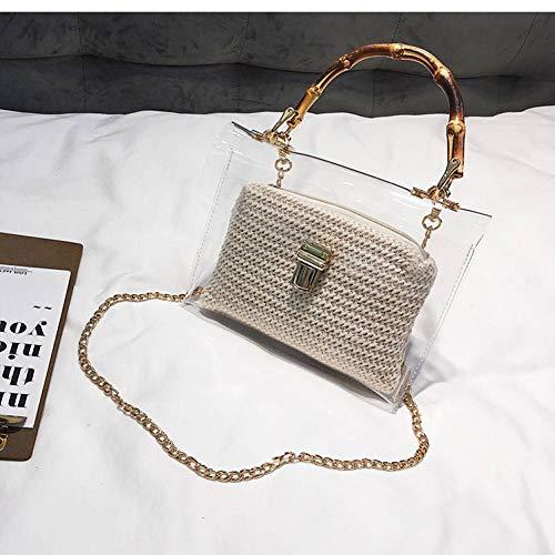 MMKONG Transparente Tasche Für Frauen Handtasche Mit Bambusgriff Sommer Kleine Kette Umhängetaschen Damen Stroh Strandtaschen-Beige,21cm x 13cm x 7cm