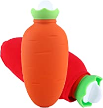 Hot Water Bottle, LEOKE Mini Silicone Carrot Kids Warm Hot Water Bag with Cover, Reusable Can Be Heated by The Microwave Oven Hand Warmer
