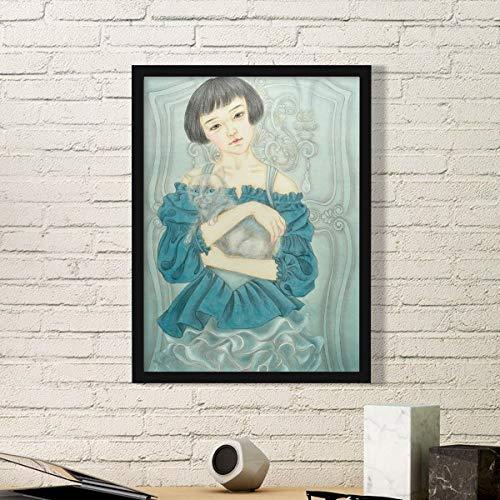 DIYthinker Blauwe Jurk Schoonheid Chinese Schilderij Eenvoudige Beeld Frame Kunst Prints Schilderijen Thuis Muursticker Gift