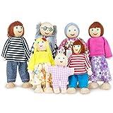 WolinTek 7 Stücke Puppenfamilie Holzpuppen für Puppenhaus,Puppenhaus Puppen, Puppenfamilien für...