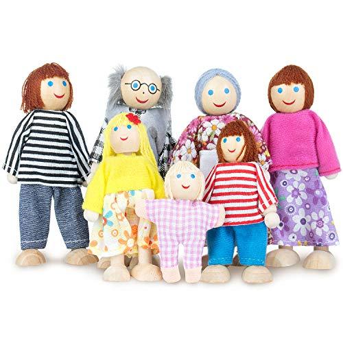 WolinTek 7pcs muñecas de Madera de la Familia fingen el Juego de la Familia de muñecas Set ,Muñecas de Madera Figura Familiar para niños niños Regalo de cumpleaños de año Nuevo