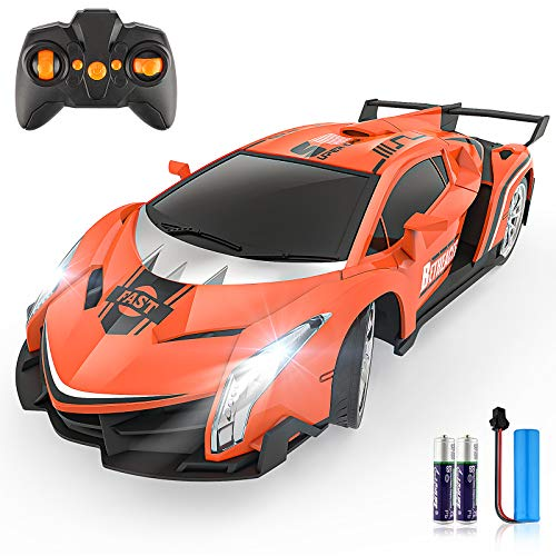 Growsland Remote Control Car RC Cars Xmas Gifts Toys for Kids 1/18 Electric Sport Racing Hobby Rc Crawler Toy Car Model Vehicle for Boys Girls Adults Included Rechargable Batteries (Orange)