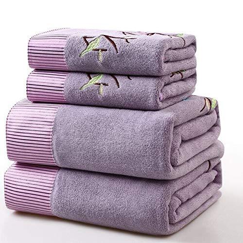 Heliansheng Juego de Toallas de baño de Dos Piezas Toalla Suave con Encaje de Microfibra Bordado -púrpura-35x75 70x140