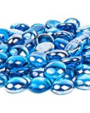 Future Way 10LB Fire Glass Beads 1/2 Inch, Caribbean Blue Glass Rock for Fire Pit, Firepla...