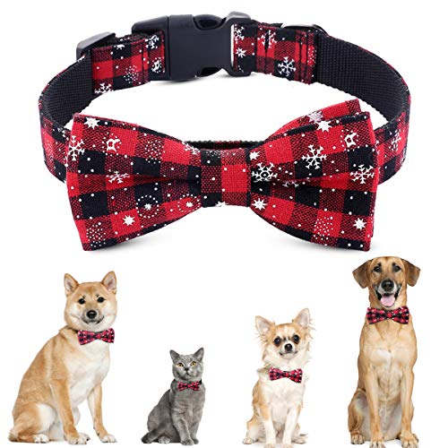 PEDOMUS Weihnachten Hundehalsband Hunde Katze Halsbänder mit Schleife einstellbar Christmas Schneeflocke Fliege Kragen Größe L