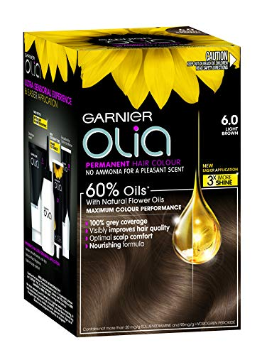 Garnier Olia Permanent Hair Colour - 6.0 Light Brown (Ammonia Free, Oil Based)