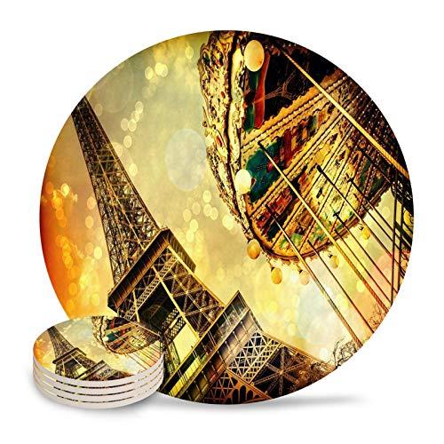 Sencillez Torre Eiffel Paris Franc Posavasos impermeable Taza de té Mat Navidad Decoración para el hogar Decoración de la mesa de café Posavasos de cerámica para taza de café botella de vidrio de vino