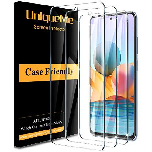 [3 PACK] UniqueMe Protector de Pantalla Compatible con Xiaomi Redmi Note 10 Pro/Note 10 Pro Max Cristal Templado,[Sin burbujas] [9H Dureza] HD Vidrio Templado