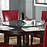 Glass Lazy Susan - Beveled Glass Table Top Server - Handmade - Tempered Glass - Free Flow Bearing (24 Inches)