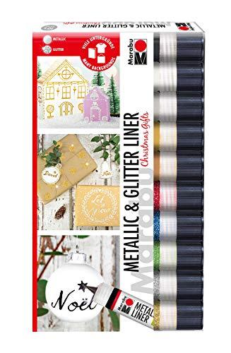 Marabu 1803000059595 - Metallic & Glitter Liner Set 'Christmas Gifts', 10 x 25 ml, universelle Effektfarbe auf Wasserbasis mit Metallic- und Glitzereffekt, für Verzierungen, Linien und Ornamente