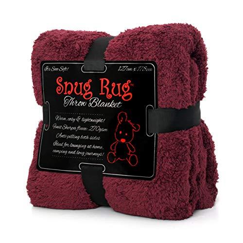 """Snug Rug Pregiato Sherpa, Edizione Speciale Coperta in Pile 127 x 178 cm (50"""") x 70 cm (Plum)"""