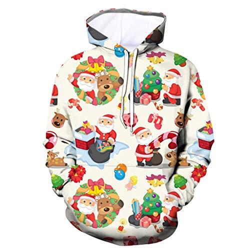 Komise Männer Casual Weihnachten Lustige 3D Print Party Langarm Hoodie Top Bluse Mantel