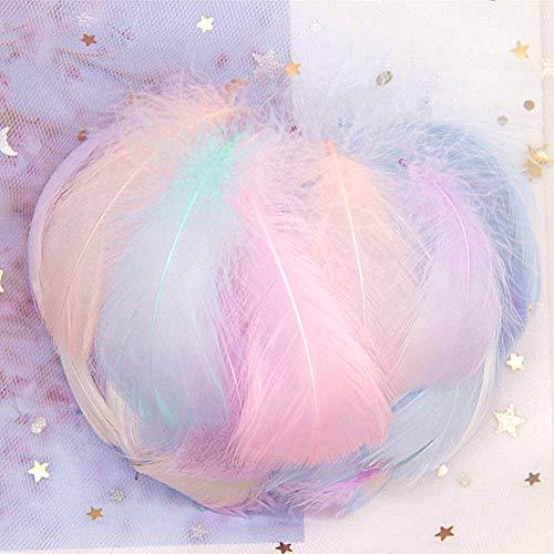 Tikkii 100 natürliche Gänsefedern, schwimmende Makronen, Pflaumen-Ballons, Dekoration für Hochzeiten, mehrfarbig