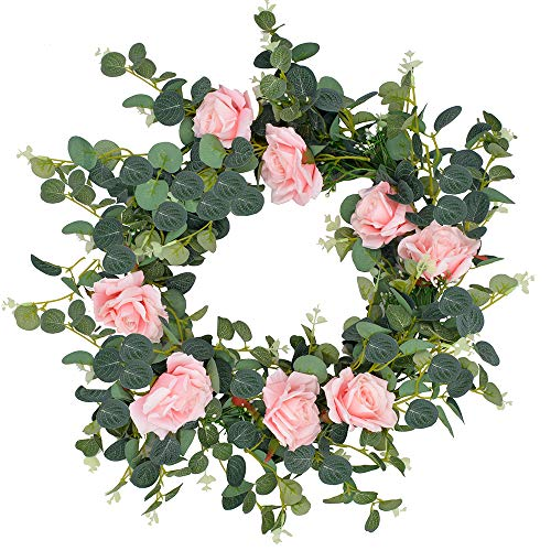 Memorz Artificial Flower Garland Fake Rose Vine with Gypsophila and Eucalyptus Hanging Ivy Plants Home Hotel Office Wedding Party Table Garden Craft Art Décor Background Decoration (Pink)
