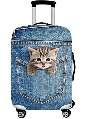 スーツケースカバー 伸縮素材 欧米風 猫 Cat キャリーバッグ カバー トランクカバー 耐久性 お荷物カバー 防塵カバー 人気 おしゃれ かわいい S M L XL/Z748 (S, 猫B)