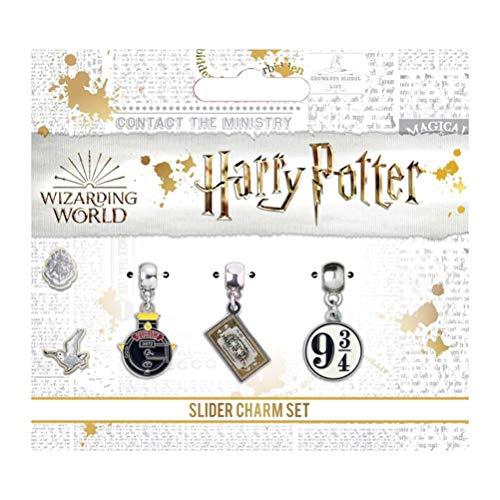 Harry Potter conjunto de 3 encantos revestido en plata–Gryffindor / Hufflepuff / Slytherin / Ravenclaw