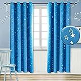 BGment Vorhänge Blickdicht Sterne mit Ösen Gardine Thermo isoliert für Baby, Kinderzimmer,Blau Verdunkelungsvorhänge 1 Paar (2X H 228 X B 117cm,Blau)