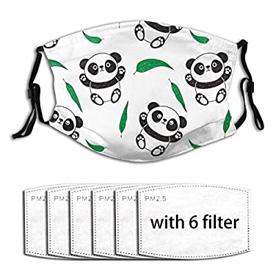Playful Pandas Reusable Activated Carbon Filter Face Shield With 6 Filter Replaceable for Men Women