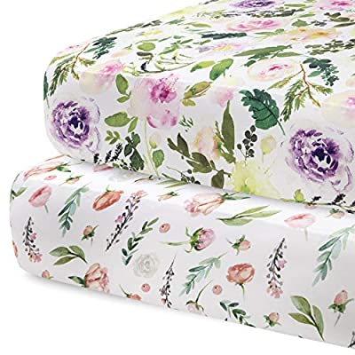 Pobibaby - 2 Pack Premium Fitted Baby Girl Crib Sheets for Standard Crib Mattress - Ultra-Soft Cotton Blend, Safe and Snug, and Stylish Floral Crib Sheet (Allure)
