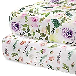 watercolor flowers crib sheets 2 pack