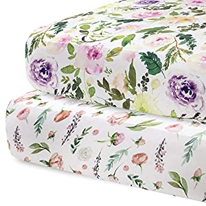 Pobibaby – 2 Pack Premium Fitted Baby Girl Crib Sheets for Standard Crib Mattress – Ultra-Soft Cotton Blend, Safe and Snug, and Stylish Floral Crib Sheet (Allure)