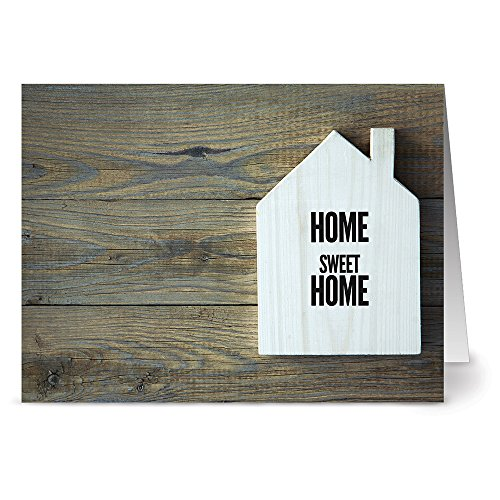 Note Card Cafe Realtor Greeting Cards with Kraft Kraft Envelopes | 36 Pack | Rustic Home Sweet Home | Blank Inside, Glossy Finish | Set for Greeting Cards, Housewarming, New Home, Thank You