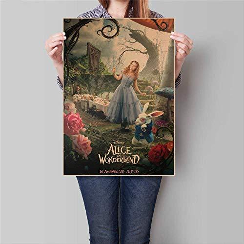 Alice Im Wunderland Movie Poster Vintage Kraftpapier Retro Bar Cafe Home Wandaufkleber Drucken Bild Dekoration 45,5x31,5 Cm