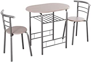 Giantex 3 Piece Dining Set Compact 2 Chairs and Table Set with Metal Frame and Shelf Storage Bistro Pub Breakfast Space Sa...