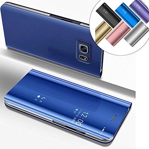 LEMAXELERS Galaxy S6 Edge Plus Hülle Spiegel Mirror Makeup Plating PU Flip Tasche Ledertasche Schutzhülle Handyhülle mit Ständer-Funktion Hülle Etui für Galaxy S6 Edge Plus,Mirror PU:Blue