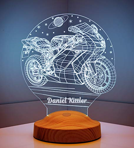 Geschenkelampe Personalisierte Geschenke mit Gravur Motorrad 3D Led Lampe Wunschtext Schlummerlicht Farbwechsel Dekor Lampe