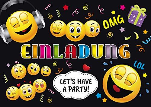 12 SMILEY-EINLADUNGEN: 12 lustige Smiley- / Emoji-Einladungskarten zum Kindergeburtstag für Mädchen und Jungen oder zur Disko-Party von EDITION COLIBRI (11016)