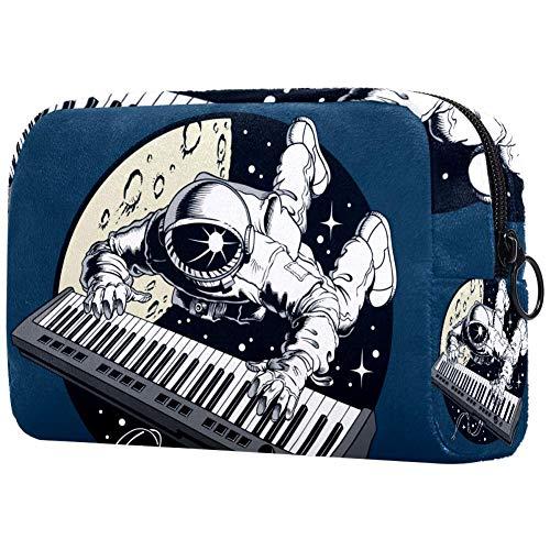 Astronaut Klavier-Synthesizer im Raum, tragbare Make-up-Tasche, bedruckte Kosmetiktasche, Kosmetiktasche für Frauen, Reise-Kosmetiktasche