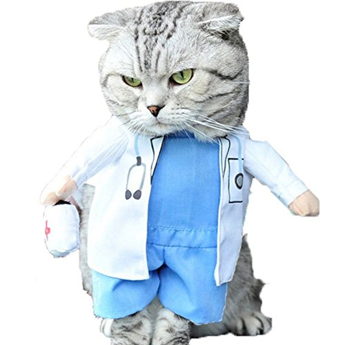 NACOCO Dog Cat Doctor Costume Pet Doctor Clothing Halloween Jeans Outfit Apparel (L)