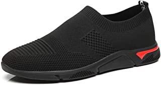 HaiNing Zheng Athletic Shoes for Men Sports Shoes Slip On Style Mesh Material Hollow Light and Flexible Fly Weave Color Matching (Color : Black, Size : 7.5 UK)