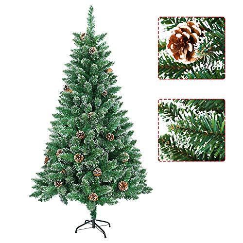 Aufun Weihnachtsbaum Künstlich 180cm Künstlicher Weinachts Baum Deko Künstlicher Tannenbaum Grün PVC mit Schnee-Effekt mit Metallständer Weihnachtsdeko