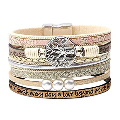 DESIMTION Bracelets for Women Family Wrap Around Boho Buckle Stacking Multilayer Leather Wide Magnetic Layered Bracelet Tree of Life for Women Mom Teen Girls Grandma