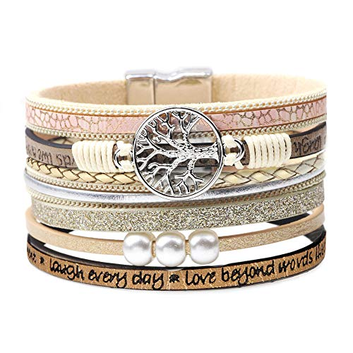 Inspirational Bracelets for Women Wrap Around Boho Buckle Stacking Multilayer Leather Wide Magnetic Layered Bracelet Tree of Life Christmas Gifts Jewelry for Women Mom Teen Girls Grandma