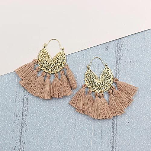 XCWXM Frauen böhmische große Quaste Ohrringe geometrische Ohrringe Ohrringe Geschenk hängen Mujer Wochenende Party-Kaffee