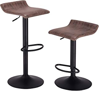 PRAISUN Bar Stools, Set of 2, Swivel Counter Chairs for Kitchen, Height Adjustable Barstool with Vintage Fabric, Matte Base, Brown