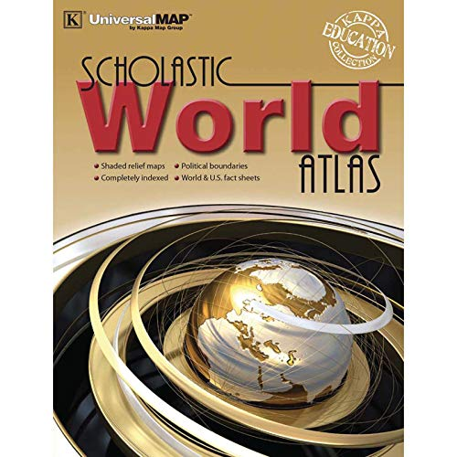 Kappa Map Group UNI11768BN World Scholastic Atlas, Pack of 4