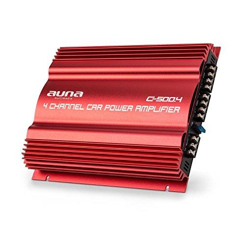 AUNA C500.4 - Red Fire Edition, Amplificatore Auto, Amplificatore, 4 Canali, Bass Boost Azionabile (+6, 12dB), 3 Impostazioni del Filtro, 4 x 65 W RMS, Telaio in Metallo, Colore Rosso